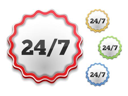 24x7: Label with 24 7 symbol
