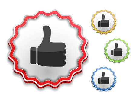 Label with thumbs up symbol Vector
