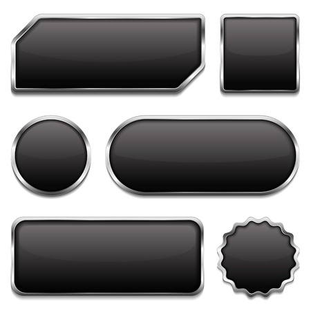 Black buttons with metallic frame Stock Vector - 19912855
