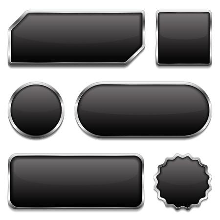 metalico: Botones negros con marco metálico Vectores