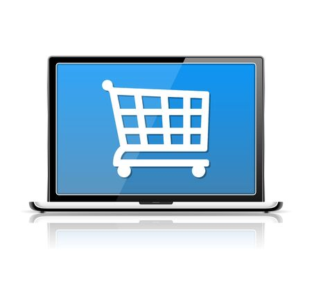 E-Commerce, laptop with icon of a shopping cart Stock Vector - 19913979