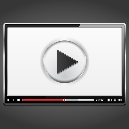 Black video player template with metallic frame Vector