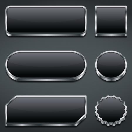 Set of blank dark buttons Vector