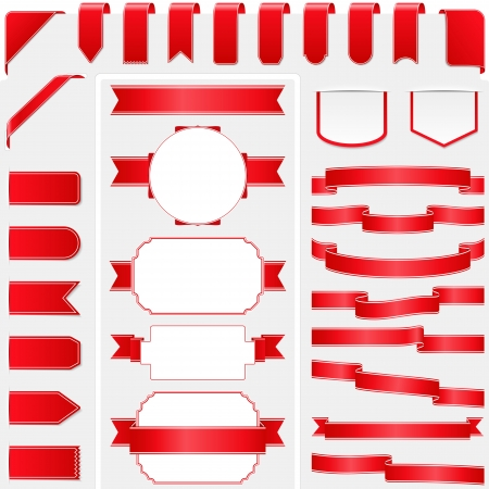 corner ribbon: Collection of red ribbons Illustration