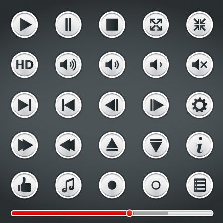 pause button: Buttons for media player and red progress bar