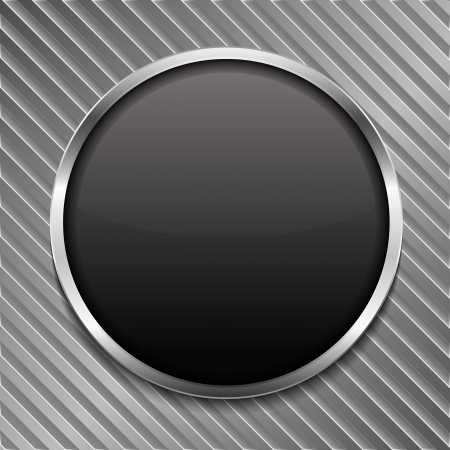 Round black board on striped metal background Stock Vector - 20203760