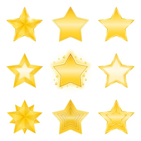 Icons of different golden stars Vector