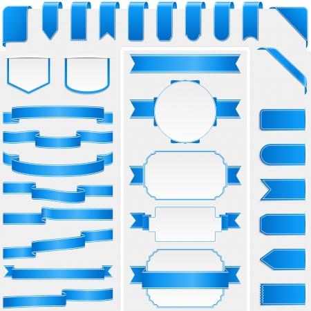 Collectie van verschillende blauwe linten en banners Stock Illustratie