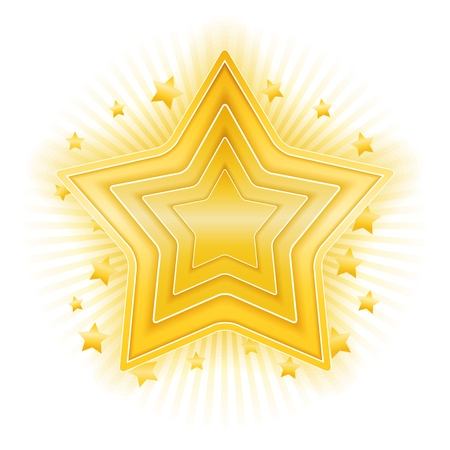 star shape: Golden star on white background Illustration