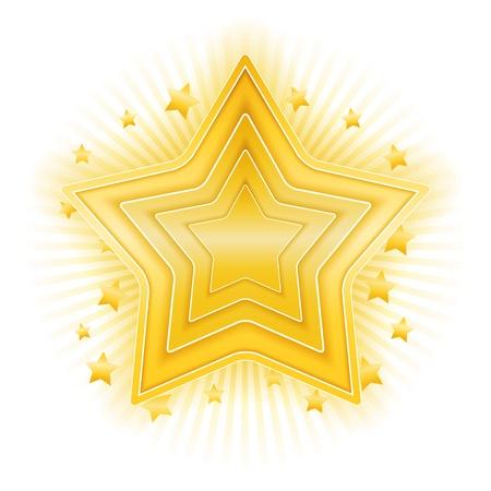 star rating: Golden star on white background Illustration