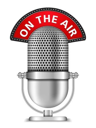 microfono de radio: Micrófono retro en el aire Vectores