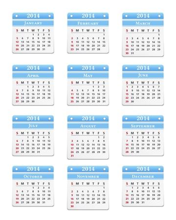 2014 Calendar on white background Vector