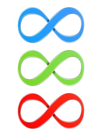 Infinity symbols, blue, green and red colors Illustration