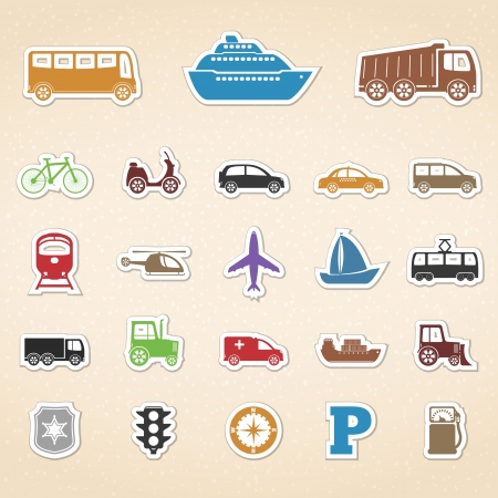 barge: Set of colored transport icons