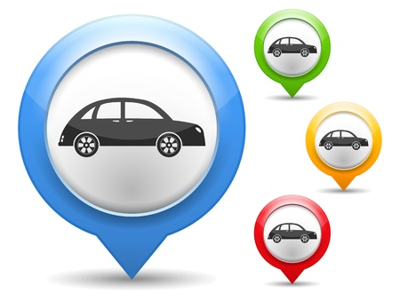 map marker: Map marker with icon of a retro car Illustration