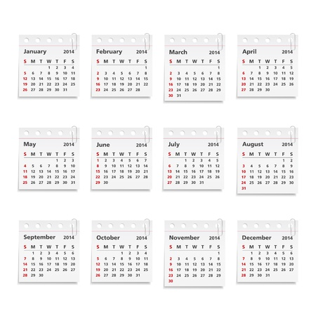 2014 Calendar on paper sheets with clips Vector