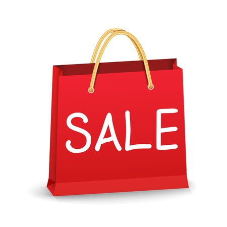 shoppers: Red shopping bag with word Sale Illustration
