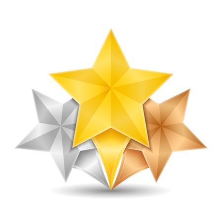 金、銀、青銅色の星
