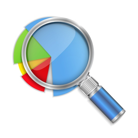 Magnifying glass and pie chart Vector