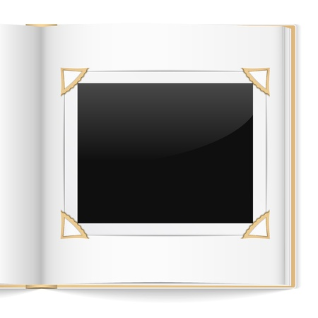 photo album book: Open photo album on white background Illustration