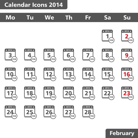 Calendar icons, February 2014 Stock Vector - 20682589