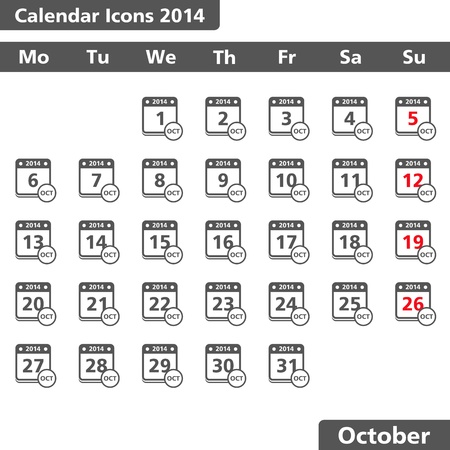 Calendar icons, October 2014 Vector