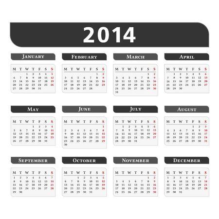 2014 Calendar Stock Vector - 20890553