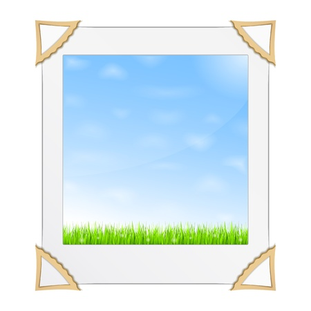 Photo of green grass and blue sky Illustration