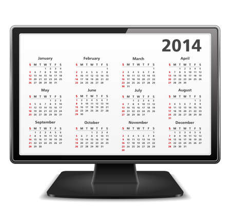 2014 Calendar on the screen of computer monitor Vector