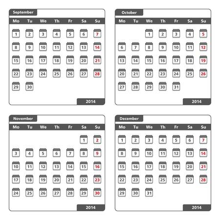 2014 Calendar icons, september, october november and december Vector
