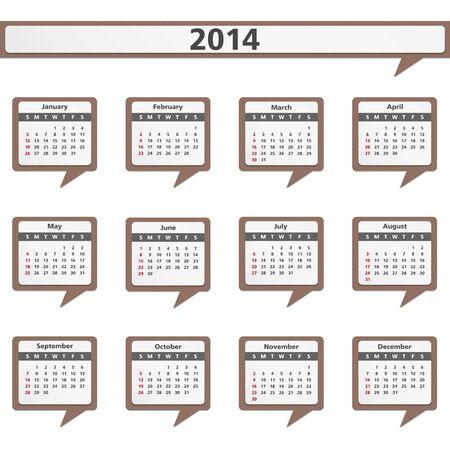 Paper speech bubbles with 2014 calendar Stock Vector - 21019332