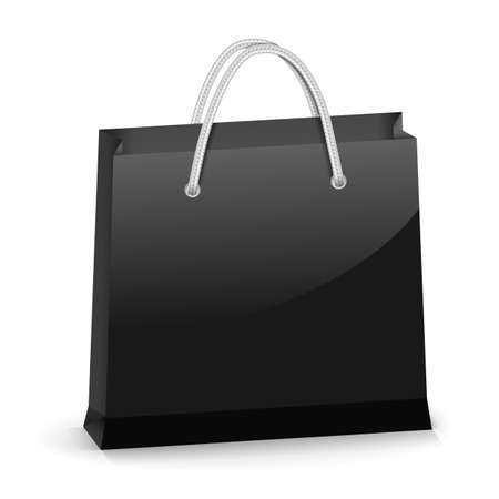 white paper bag: Black glossy shopping bag