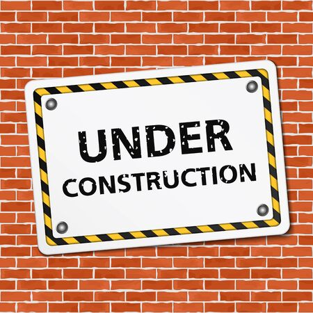 Under construction sign on brick wall Vector