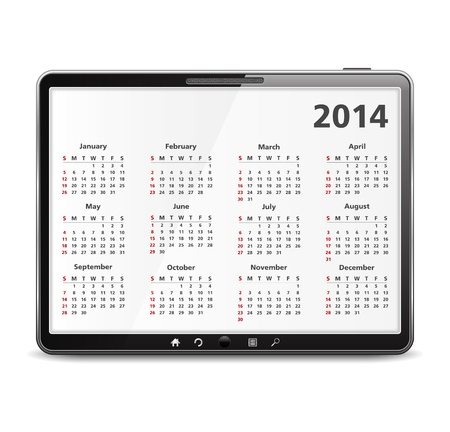 Tablet computer with 2014 calendar Vector