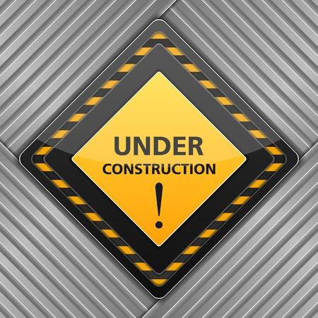 overhaul: In costruzione segno su sfondo di metallo strisce