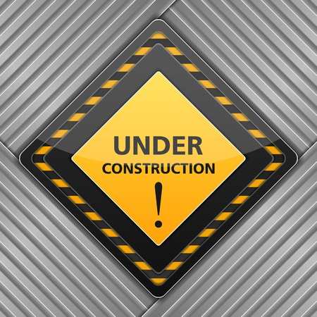overhaul: Under construction sign on striped metal background