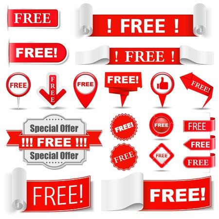 Conjunto de diversas etiquetas libres