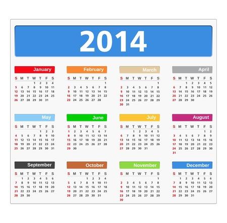 2014 Calendar Stock Vector - 21636061