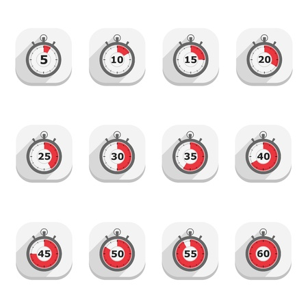 Stopwatch icons, flat design Vector