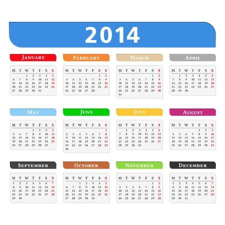 Calendar 2014 Stock Vector - 21653349