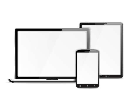 Mobile devices on white background Vector