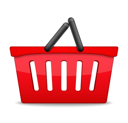 Red shopping basket icon isolated on white background Vector