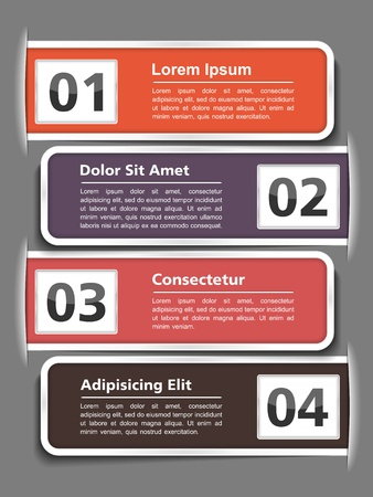 text boxes: Modern design template with four elements and place for your text Illustration