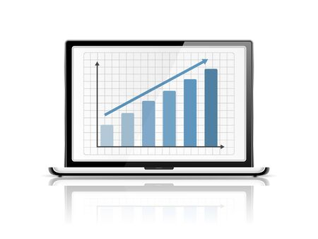Blue graph in laptop Vector
