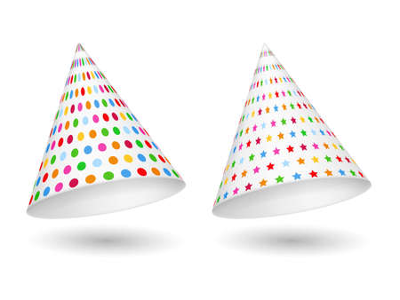 gorros de fiesta: Dos sombreros de fiesta con los c�rculos y las estrellas