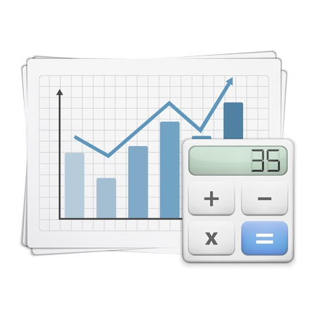 Finance graph and calculator Vector