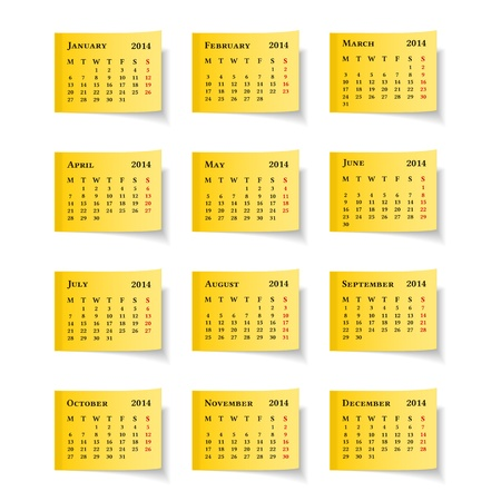 2014 Calendar on yellow sticky notes Vector