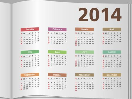 2014 Calendar on the open page Stock Vector - 22000249