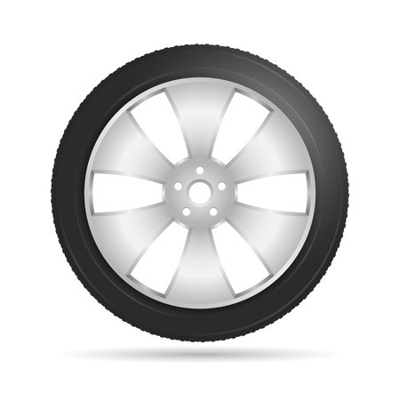 Car wheel on white background, Stock Vector - 22000271