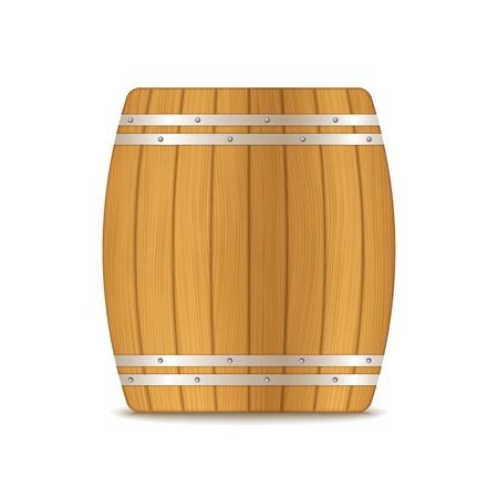 beer barrel: Wooden barrel on white background, Illustration